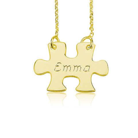 18K Gold Plated Personalised Puzzle Necklace