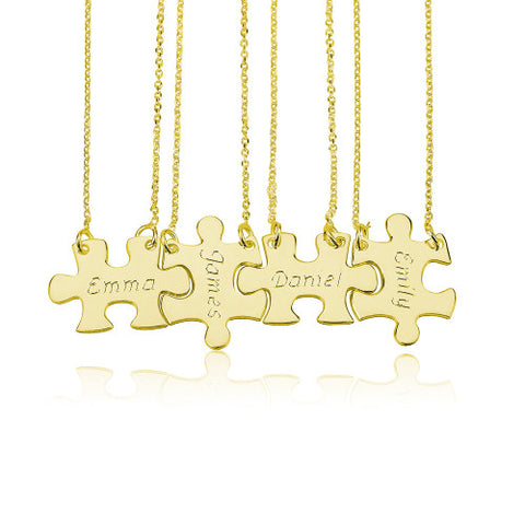 18K Gold Plated Personalised Friendship Puzzle Necklaces -4 Names