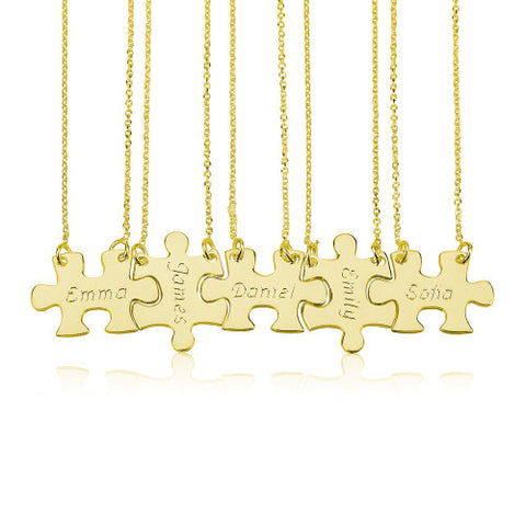 18K Gold Plated Personalised Friendship Puzzle Necklaces -5 Names
