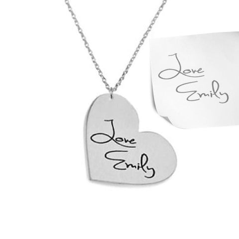 Sterling Silver Personalised Signature/ Handwriting Heart Necklace