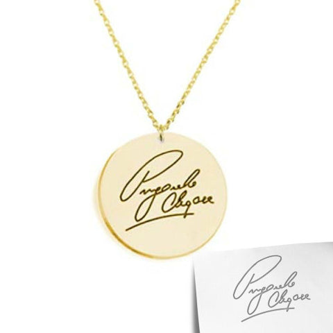 18K Gold Plated Personalised Signature/ Handwriting Disc Necklace
