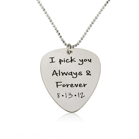 Sterling Silver Personalised Guitar Pick Necklace