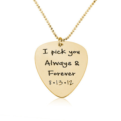 18K Gold Plated Personalised Guitar Pick Necklace