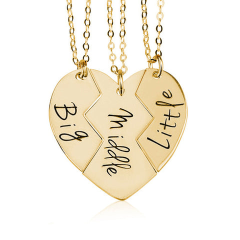 18K Gold Plated Personalised 3 Siblings/Sisters Necklaces