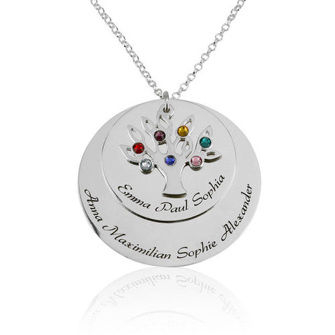 Sterling Silver Personalised Family Tree Discs Necklace