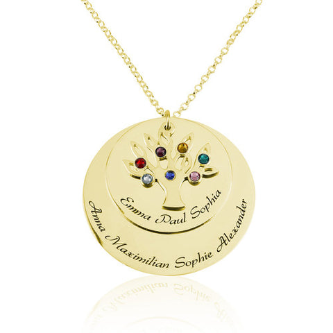 18K Gold Plated Personalised Family Tree Discs Necklace