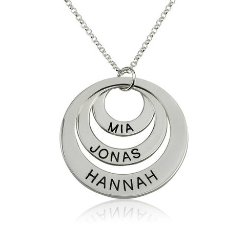 Sterling Silver Personalised Three Rings Necklace