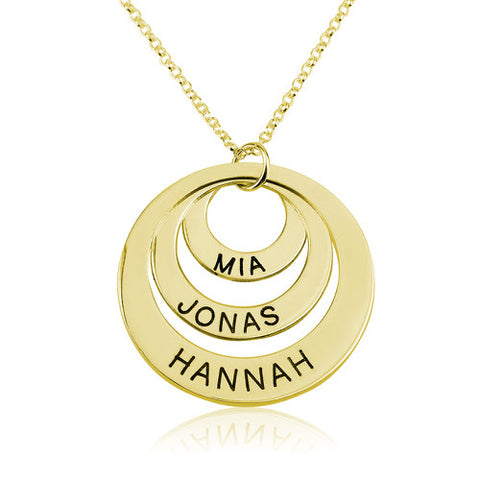 18K Gold Plated Personalised 3 Rings Necklace
