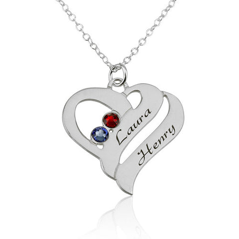 Sterling Silver Personalised Double Heart Necklace
