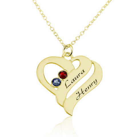 18K Gold Plated Personalised Double Heart Necklace