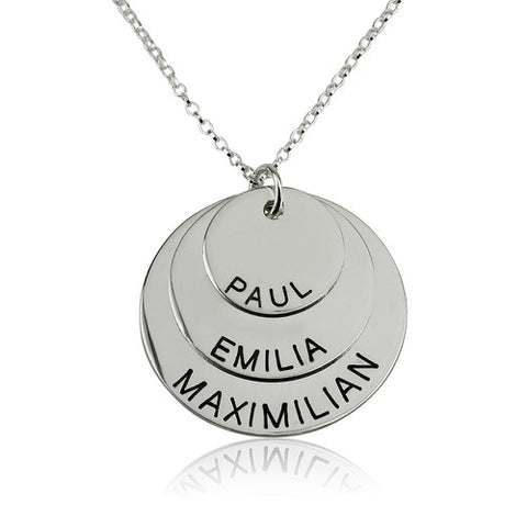 Sterling Silver Personalised 3 Discs Necklace