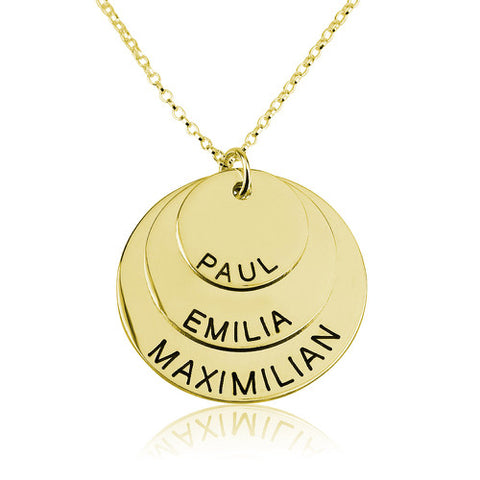 18K Gold Plated Personalised 3 Discs Necklace