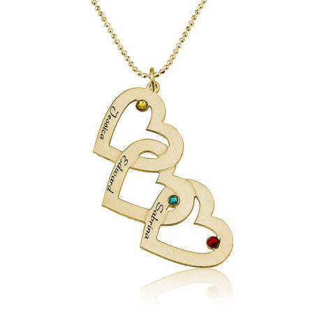 18K Gold Plated 3 Hearts Necklace