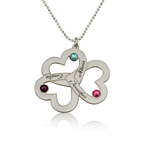 Sterling Silver Personalised 3 Hearts Clover Necklace