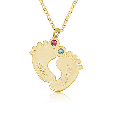 18K Gold Plated Personalised Baby Feet Two Names Necklace