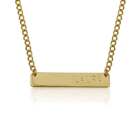 Brass Name Personalised Bar Necklace