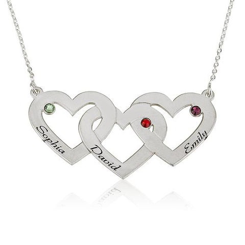 Sterling Silver Personalised 3 Hearts Necklace