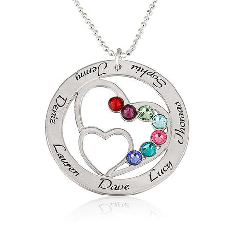 Sterling Silver Personalised Family Heart & Birthstones Necklace
