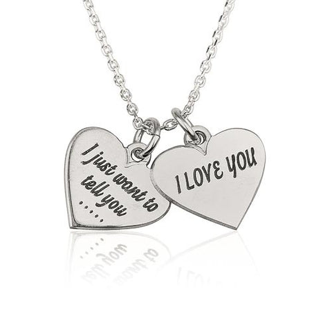 Sterling Silver Personalised Two Hearts Necklace