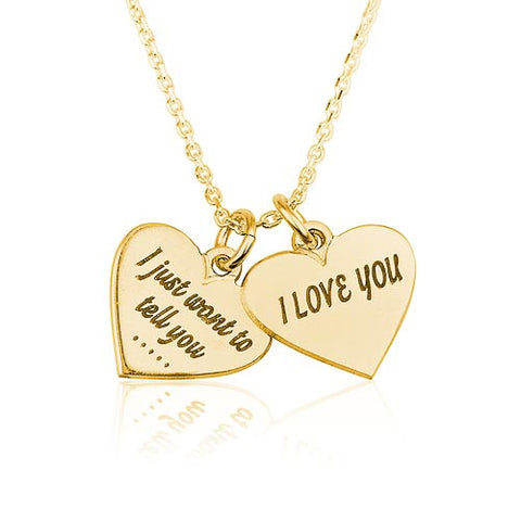 18K Gold Plated Personalised Two Hearts Necklace