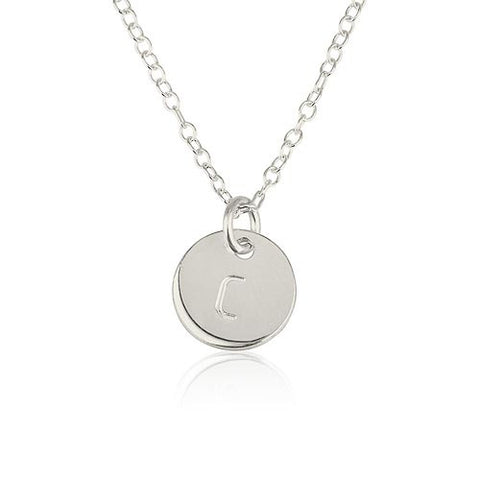Sterling Silver Personalised Initial Disc Necklace