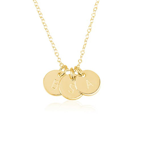 18K Gold Plated Personalised 3+ Initials Disc Necklace
