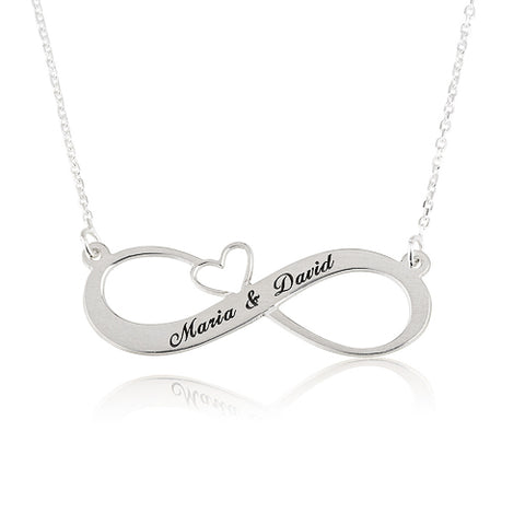 Sterling Silver Personalised Infinity Heart Names Necklace