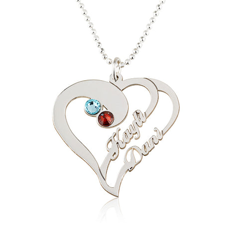Sterling Silver Personalised Heart & Birthstone Name Necklace