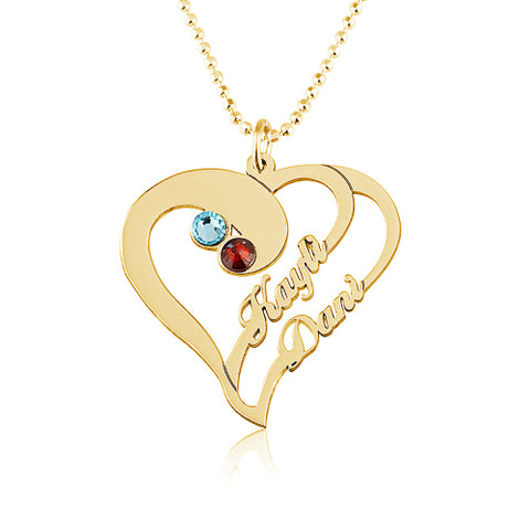 18K Gold Plated Personalised Heart & Birthstone Name Necklace
