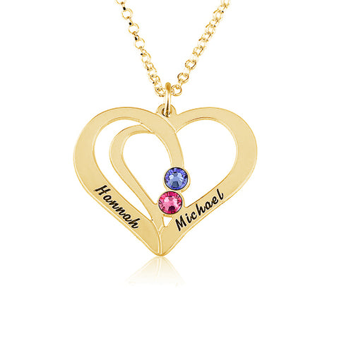 18K Gold Plated Personalised Heart & Birthstone Necklace