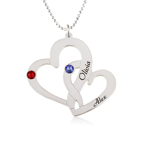 Sterling Silver Personalised Twin Hearts & Birthstones Necklace