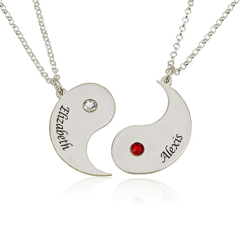 Sterling Silver Personalised Yin Yang & Birthstones Friend/Couple Necklaces
