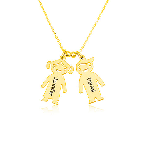 18K Gold Plated Personalised Pigeon Pair Necklace