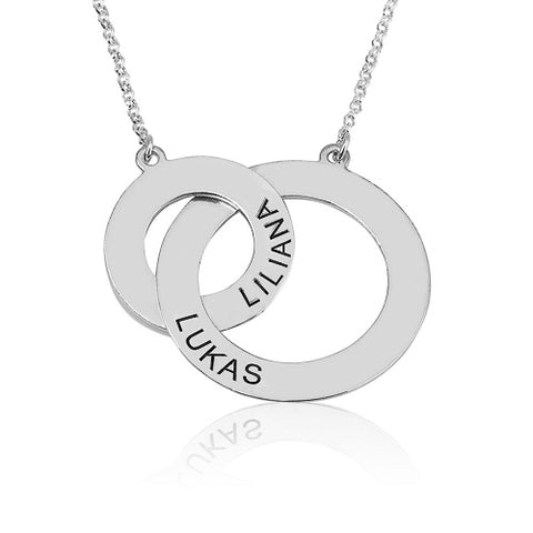 Sterling Silver Personalised Russian Rings Necklace