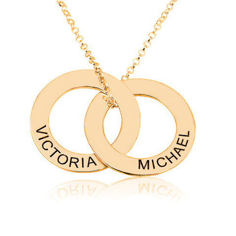 18K Gold Plated Personalised Russian Rings Necklace