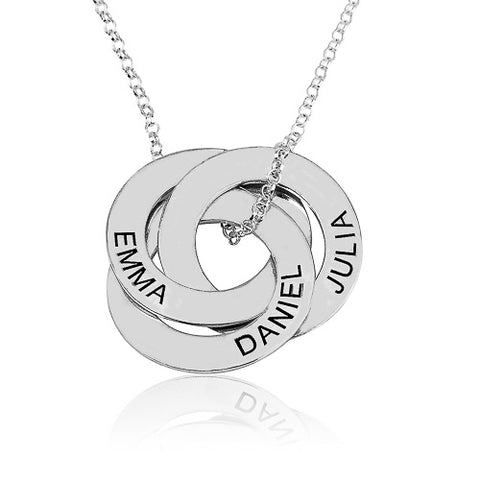Sterling Silver Personalised Intertwined Russian Rings Necklace