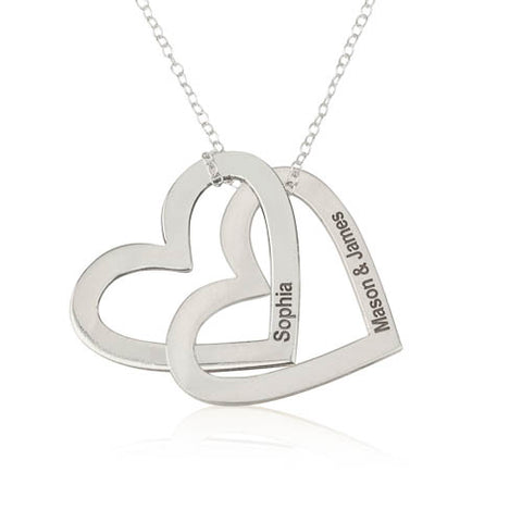 Sterling Silver Personalised Russian Hearts Necklace