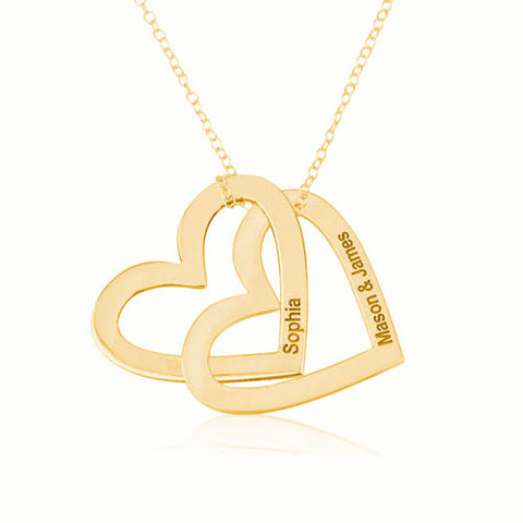 18K Gold Plated Personalised Russian Hearts Necklace