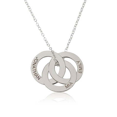 Sterling Silver Personalised 3 Rings Necklace