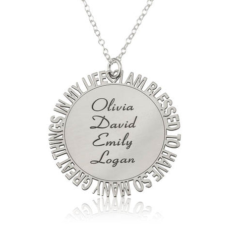 Sterling Silver Personalised Blessed Necklace