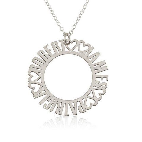 Sterling Silver Personalised Names Circle Necklace