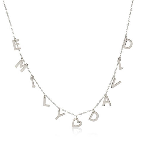Sterling Silver Personalised Heart and Two Names Initials Necklace
