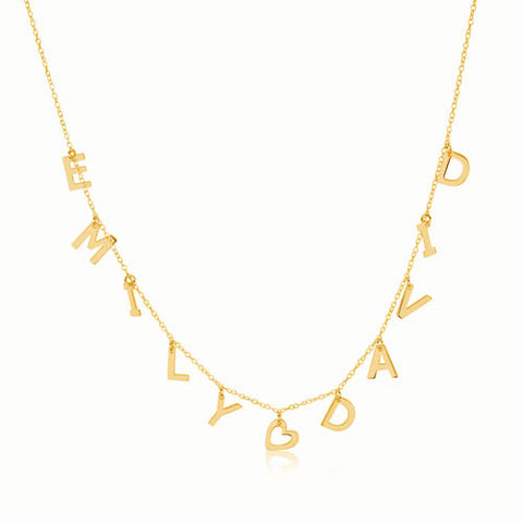 18K Gold Plated Personalised Heart and Multiple Initials Necklace