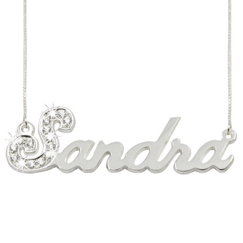 Sterling Silver Personalised 1st Letter Sparkling Swarovski Name Necklace