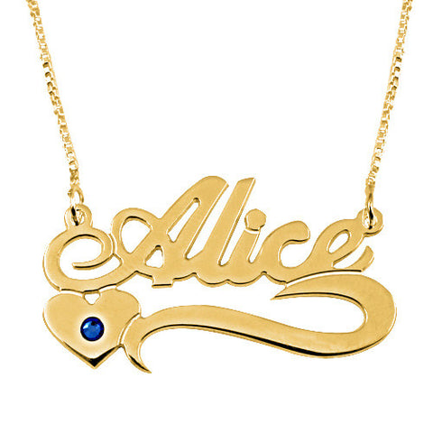 Personalised 18K GP Name Necklace with Birthstone