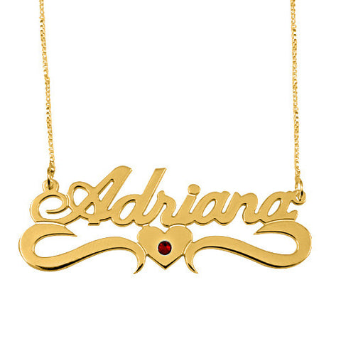 18K Gold Plated Personalised Name Necklace with Underline Heart Birthstone