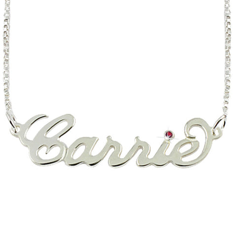 Sterling Silver Personalised Carrie Style Name Necklace with Birthstone in the i