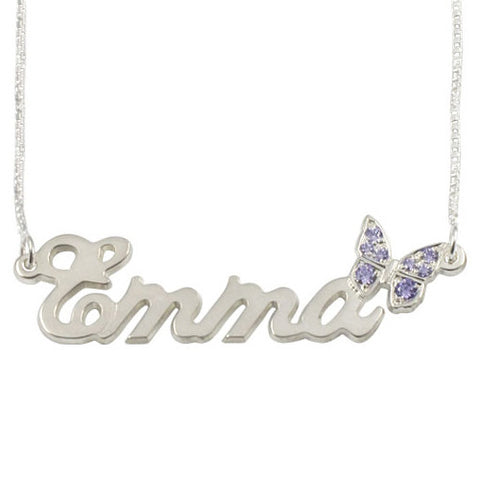 Sterling Silver Personalised Name Necklace with Swarovski Butterfly