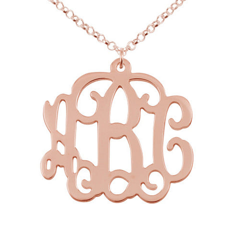 18K Rose Gold Plated Personalised Monogram Initials Necklace