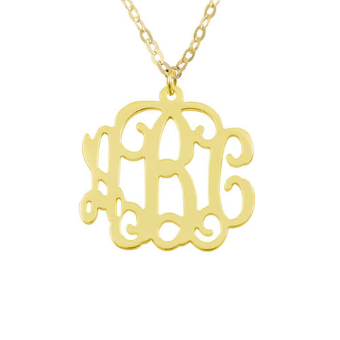 14K Solid Gold Personalised Monogram Initials Necklace